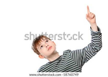 Educational theme: boy teenager showing upward. Isolated over white background. - stock photo