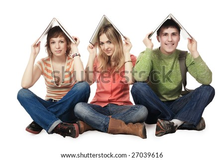 Educational theme: group of students studing together. - stock photo