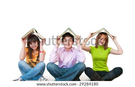Educational theme: group of students studing together