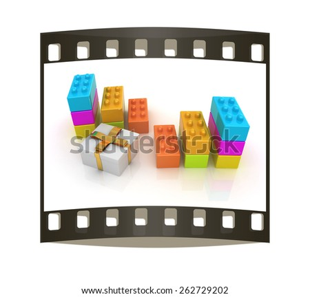 educational toy and gift isolated on white background. The film strip - stock photo