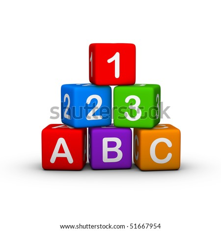 Educational Toy Blocks with letters and numbers