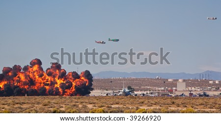 EDWARDS AFB, CA - OCT 17: Tora! Tora! Tora! demonstration team performs at Flight Test Nation 2009, October 17, 2009, Edwards Air Force Base, CA - stock photo