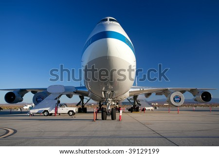 EDWARDS AFB, CA - October 17: Boeing 747 Shuttle Carrier Aircraft on display at Flight Test Nation 2009, October 17, 2009, Edwards Air Force Base, CA