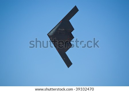 "EDWARDS AFB, CA - OCTOBER 17: Northrop Grumman B-2 Spirit ""Spirit Of New York"" performs at Flight Test Nation 2009, October 17, 2009, Edwards Air Force Base, CA - stock photo"