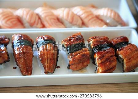 Eel and Salmon sushi, Traditional japanese food - stock photo
