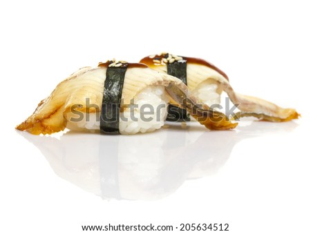 Eel sushi nigiri with shadow isolated on white background