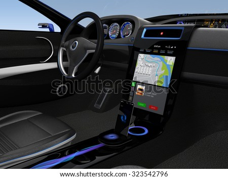 Eelectric car console UI design with map navigation screen. - stock photo