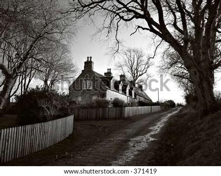eerie cottage - stock photo