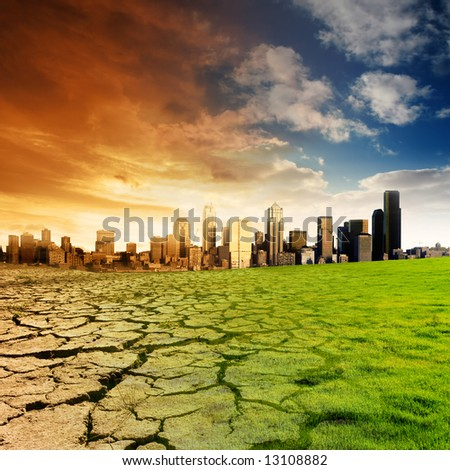 Effect of Global Warming on a city - stock photo