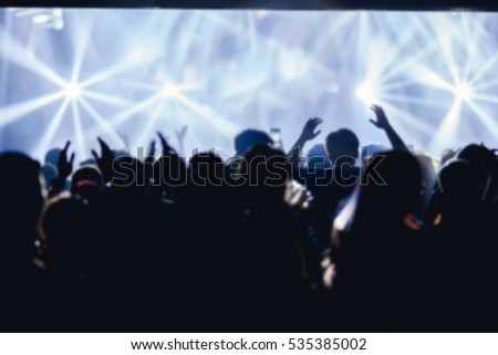 Effects blur Concert disco dj party new year People with hands up having fun