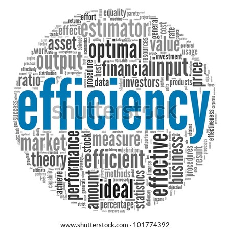 Efficiency concept in word tag cloud on white background ...