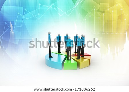Effort and Result. People standing the top of Pie Chart. - stock photo