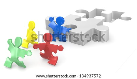 Effort and Result 1. Puzzle People helping hands for solution. 1 of 2. - stock photo