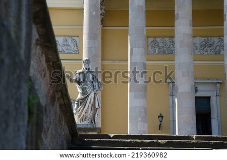 EGER, HUNGARY- CIRCA AUGUST, 2014- Sculpture at Basilica. The Cathedral or basilica of Eger - this is the third largest Catholic Church in Hungary. It was built  in classicist designs by Joseph Hild.