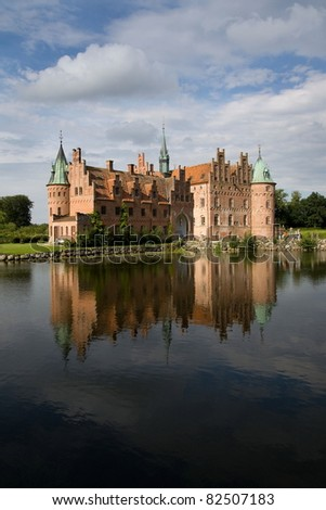 Egeskov Castle in Funen, Denmark - stock photo