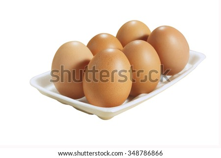 egg and foam on white background with clipping path. - stock photo