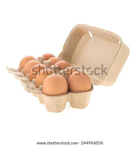Egg box isolated on white background - stock photo