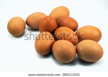 Egg,Chicken Egg,Eggs on white background,Selective focus - stock photo