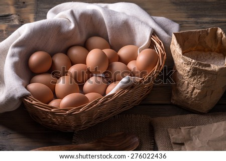 Egg collection is basket, rustic style - stock photo