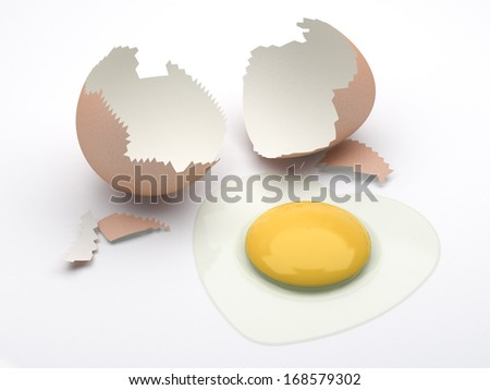 egg cracked with heart shape albumen  - stock photo