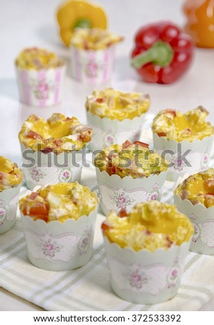 Egg cupcakes with vegetables  - stock photo