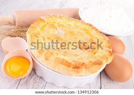 egg, flour and chicken pot pie - stock photo