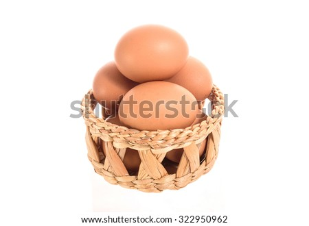 Egg  in a basket on white background - stock photo