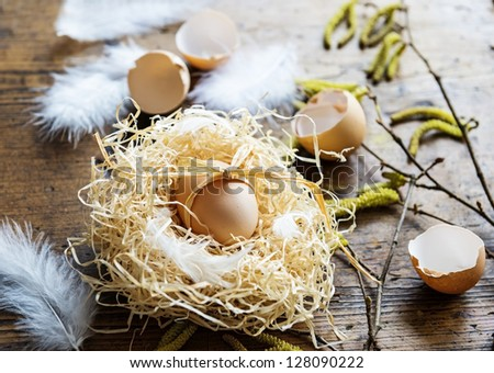 egg in a nest - easter - stock photo