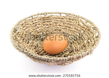 egg in basket on white background.