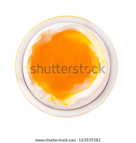 Egg in bowl isolated on white background - stock photo