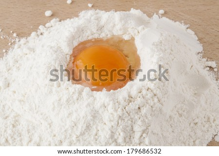 Egg in flour on the kitchen table.