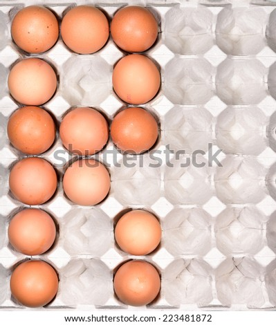 Egg in the package arrange be the english alphabet R