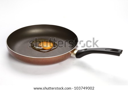 Egg in the Pan with handle on white background - stock photo