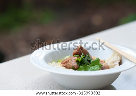 Egg noodle with delicious stewed pork and dumpling. - stock photo