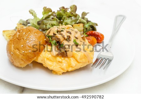 Egg omelette burger with saute vegetables