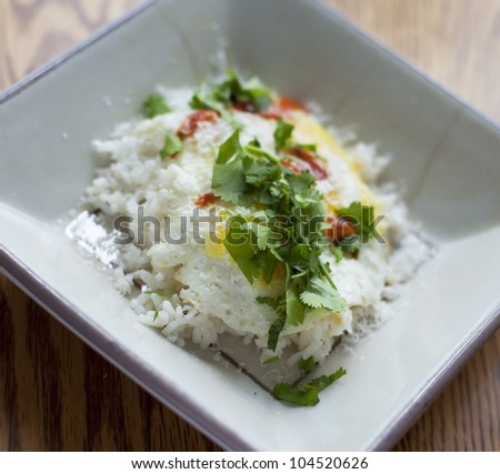 Egg on rice with cilantro and hot sauce.  Delicious! - stock photo