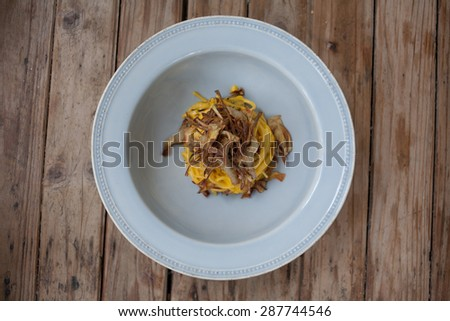 Egg pasta viewed from above.