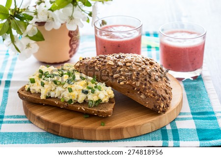 Egg salad sandwich with green onion for  healthy  and delicious lunch - stock photo