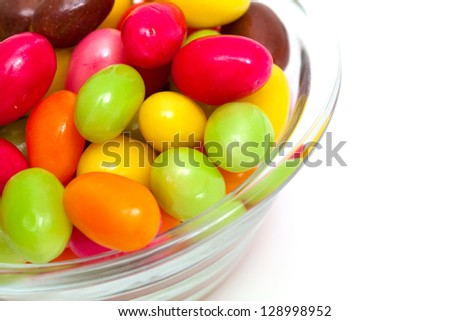 egg-shaped candies and empty space for your text