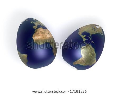 egg shaped earth - stock photo
