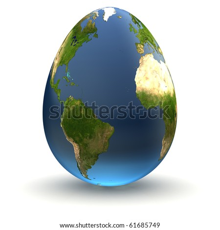 Egg-shaped realistic earth globe with highly detailed terrain textures facing the Atlantic Ocean between the Americas, Europe and Africa