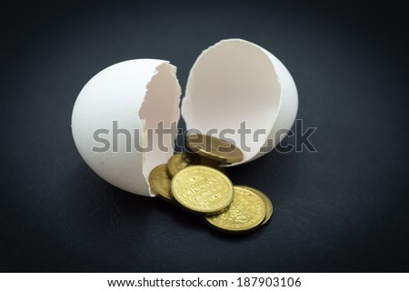 Egg shells and money coins in a black background - stock photo