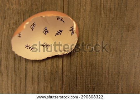 Egg shells shown lying on a wooden background with marks inside counting down the days till hatching,