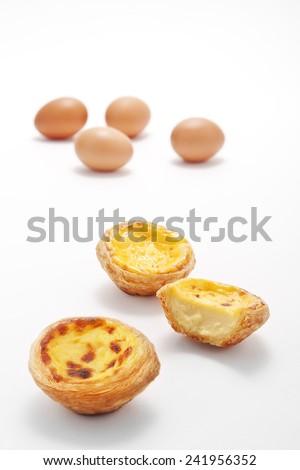 Egg tarts on background - stock photo