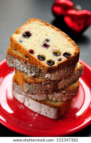 Egg White Cake with Berries - stock photo