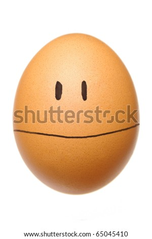 egg with happy face on white - stock photo