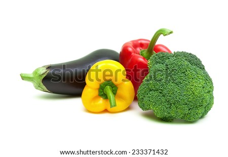 eggplant, bell peppers and broccoli isolated on white background close-up. horizontal photo. - stock photo