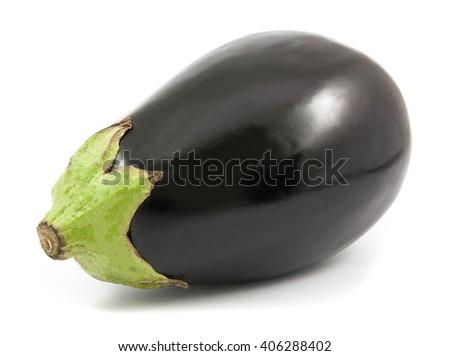 eggplant or aubergine vegetable isolated on white background - stock photo