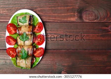 eggplant rolls - stock photo