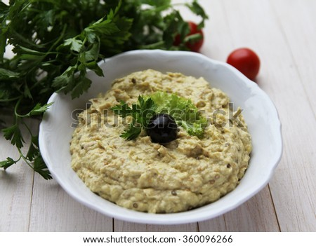 Eggplant salad with mayonnaise - stock photo